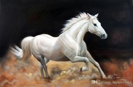 white horse oils NZ - Framed White Horse Dusty Trail Trotting Portrait,Genuine Hand Painted Animal Art oil Painting On Thick Canvas Museum Quality Multi size J054