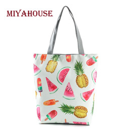 $enCountryForm.capitalKeyWord NZ - Miyahouse Hot Sale Casual Fruit Watermelon Design Top-handle Bags Canvas Shoulder Bag For Women Summer Beach Bags High Capacity