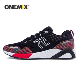 colorful mesh running shoes Canada - ONEMIX men running shoes colorful knitted vamp sneakers memory damping soft outsole dispel moisture deodorant insole running