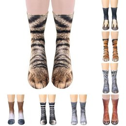 wholesale paw print Australia - 3D Animals Print Socks Unisex Crew Long Socks Soft Casual Cute Cotton Socks Children Dog Horse Zebra Tiger Cat Paw