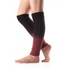 over knit sock UK - New autumn and winter soft cashmere section dye gradient pile socks cover boots cover fashion warm knitting long leg protector