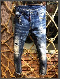 Cheap rip jeans online shopping - 19ss Fashion Italy Brand Rock Biker Jeans Men Ripped Denim Tearing D2 Trousers Skinny Mens Jeans For Men Cheap Pants Ruched Boy Jeans
