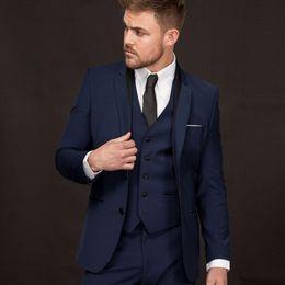 Suit Navy Blue Gold Australia - Newest Groomsmen Notch Lapel Groom Tuxedos Navy Blue Men Suits Two Buttons Wedding Best Man Blazer (Jacket+Pants+Vest +Tie)
