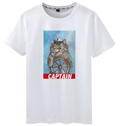 $enCountryForm.capitalKeyWord Australia - Captain t shirt Cat shipmaster short sleeve tees Ship driver gown tops Fadeless print clothing Pure color colorfast modal tshirt