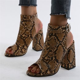 snake print sandals NZ - European and American new women's shoes large size sexy snake pattern thick heel high heel fish mouth sandals women shoes 35-42
