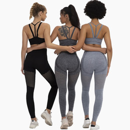 workout clothing for women Canada - Gym 2 Piece Sport Set Workout Clothes for Women Sports Bra and Leggings Set Sportswear for Women Gym Clothing Athletic Yoga