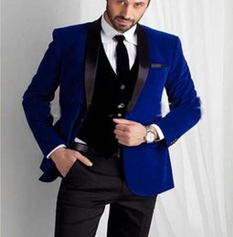 royal navy buttons Canada - New Style Royal Blue Velvet Groom Tuxedos groommens Men's suits One button Groom wedding suits for mens 3 Pieces Blazer(Jacket+Pants+Vest)