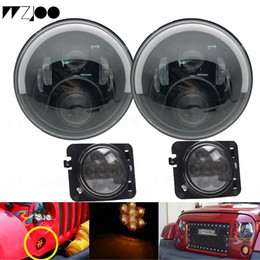turn lights round Canada - For lada niva 4x4 7Inch Round Led Headlight Halo Ring Angel Eye DRL Amber Turn Signal Projector Headlamp For Jeep Wrangler