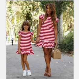ebf14498085e Women Girl red white Striped Above knee Mini dresses flounce short sleeve Mother  Daughter dress family matching outfits
