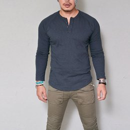 v neck muscle tees 2019 - Fashion Men Slim Fit V Neck Long Sleeve Muscle Tee T-shirt Casual Tops Blouse Spring Autumn T Shirt cheap v neck muscle