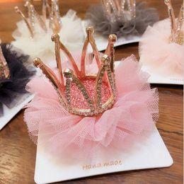 $enCountryForm.capitalKeyWord Australia - New design children crown hairclip princess gauze hairpin kids fashion hair clip baby girl headwear hair accessories