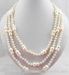 long silver knot necklace NZ - Hand knotted beautiful 6-7mm 8x16mm white baroque nearly round freshwater pearl necklace long 152cm fashion Jewelry