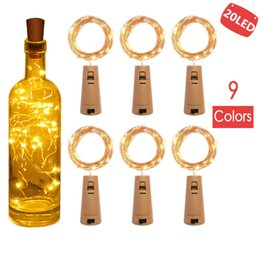decorative cork bottles NZ - 9 Colors 2M 20LED Lamp Cork Shaped Bottle Stopper Light Glass Wine LED Copper Wire String Lights For Xmas Party Wedding Decor DHL