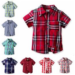 Blouse Cotton Baby Boy Australia - Baby Boys Clothes Kids Plaid Shirts Grid Check Lapel T-Shirt Summer Short Sleeve Tops Casual Cotton Tees Fashion Gentle Blouse Tanks B5589