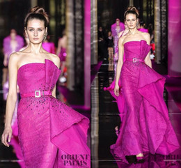 zuhair murad dresses Australia - Newest Couture Zuhair Murad Red Carpet Evening Dresses Mermaid Backless Fuchsia Lace Prom Dress Latest Party Gown Designs