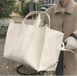 cell phone drop shipping UK - Large Shopping Bag Jumbo Canvas Totes Beach Bag Summer White Casual Totes 2020 Fashion Beige White Color drop shipping
