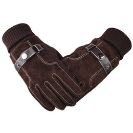 leather gloves sale NZ - Hot Sale Mens Christmas Gift High Quality Winter Driving Gloves Cool Black and Brown Real Leather Gloves