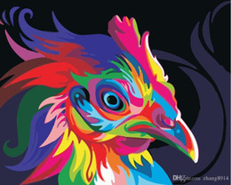 Color Diy Painting Australia - 16x20 inches DIY Paint on Canvas by Number Kits Abstract Art Acrylic Oil Painting for Adults Children Color Rooster Head