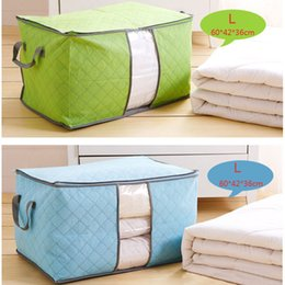 $enCountryForm.capitalKeyWord Australia - Portable Quilt Storage Bag Non Woven Folding House Room Storage Boxes Clothing Blanket Pillow Underbed Bedding Big Organizer Bags DH0717