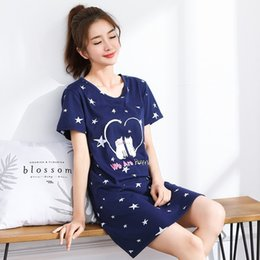 Wholesale lounge dresses cotton for sale – plus size 2019 Summer Cotton Nightgown Women Sweet Girl Lounge Cute Nightdress Sleepwear Home Dress Casual Nightwear Sleepshirts XL