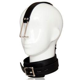 Nose Hook Slave Australia - Fetish metal nose hook leather collar neck harness headgear bondage restraint adult slave game SM sex toy for men women couples