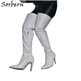 e0d2caab3b5 White Pointed Toe Boots Over The Knee Wide Thigh High Booties Ladies High  Heels Stilettos New Arrival 2019 Women Shoes