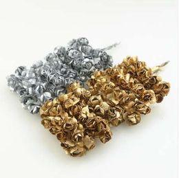 $enCountryForm.capitalKeyWord Australia - Cheap 12pcs 2cm Gold Silver Plum Artificial Mini Paper Rose Scrapbook Wedding Party Decoration Handicraft Accessories Christmas