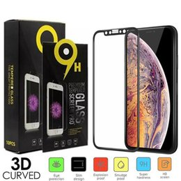 Cheap Tempered Glass Screen Protector Australia - Full Coverage Tempered Glass For iPhone iphone XS MAX X 8 7 plus 6 5 Soft Edge Cheap Premium 3D Screen protectors Film with Paper Box