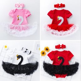 Infant Rompers Girls Australia - Baby girls swan rompers tutu skirts with headband newborn baby lovely outfits infant toddler tutus 4 colors