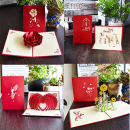 post card envelope wholesale Australia - Color Printing Big Rose flowers building sun rose 3D pop up greeting card laser cutting envelope postcard hollow carved handmade gift