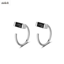 774753936ae mens earrings 2019 - Mens Punk Rock Earrings Black Square Earring Ear Studs  Crystal Stud Earrings