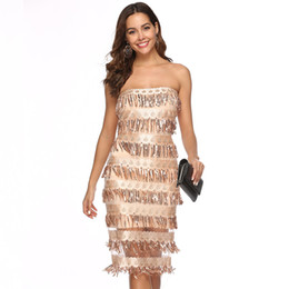8ff9b11909 Designer new explosion models Europe and the United States foreign trade  women s sexy tube top halter sequin dress