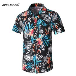 plus size spandex shirt Australia - 2019 Summer Mens Short Sleeve Beach Hawaiian Shirts Cotton Casual Floral Printed Shirt Plus Size 5XL Casual Mens clothing