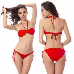 Bikini Swimwear Butt Australia - Much Valuable Removable Neck Halter Butterfly Top Classic Tied Butt 2019 Women Swimwear Vs Bikini Dropshipping