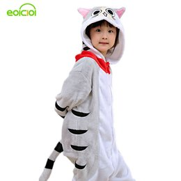 cat cosplay pyjamas UK - Eoicioi New Hooded Children Pajamas Winter Flannel Cartoon Cat Kids Boys Girls Pijamas Baby Cosplay Pyjamas Sleepwear Onesies J190520