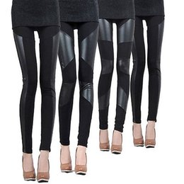 Discount hot black stretch pants - HOT Sale Ladies Leather Look Panel Leggings Jeggings Womens Stretch Trousers Black pants