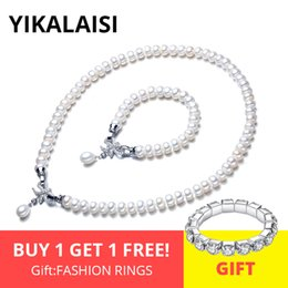 $enCountryForm.capitalKeyWord Australia - YIKALAISI 925 Sterling Silver Natural Freshwater Pearl Necklace Bracelet Butterfly Sets Jewelry For Women 8-9mm Pearl 4 Colour J190521