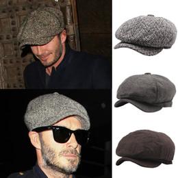 Para hombre boinas manera caliente del adulto Venta casquillo del vendedor de periódicos de Baker Boy Cap sombrero plano con 3 colores en venta