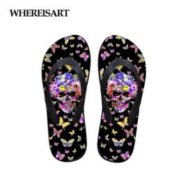 $enCountryForm.capitalKeyWord NZ - WHEREISART Black Flip Flops Skull with Butterfly Prints Summer Women's Slippers 2018 Fashion Women Flip Flops Casual Flats Home