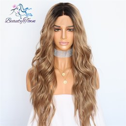 $enCountryForm.capitalKeyWord Australia - Beautytown Silk Dark Roots Ombre Brown Natural Wave Women Queen Daily Makeup Wedding Party Present Synthetic Lace Front Wigs Y190717