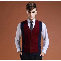 Wholesale red sweater vest men resale online – Sweater Cardigan Buttons Down Knit Jacket Vest for Men Sleeveless Wool Stylish Fashion Patchwork Red Grey