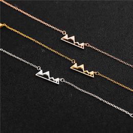 Gold Pendants Charm Wholesale Australia - 10 mountain peak charm necklace hollow pendant snow mountain necklace silver gold fashion simple outdoor landscape ladies men's jewelr