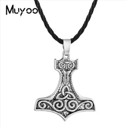 $enCountryForm.capitalKeyWord Australia - 2019 New Nordic Men's Viking Pendant Necklace Personality Odin's Ravens of Thor's Hammer Vintage Antique Silver Pendants