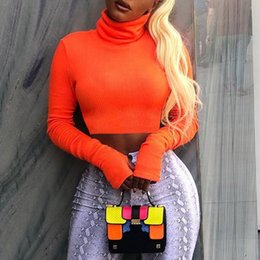 Cropped Tees Australia - Zhymihret Autumn Winter Neon Color Ribbed T Shirt For Women Long Sleeve Turtleneck Tshirt Knitted Crop Tops Tee Femme Q190522