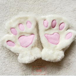 animal claw gloves Canada - Fashion-Fluffy Plush Gloves Mittens Paws Gloves Women Girl Children Cosplay Cat Bear Paw Claw Half Finger Glove 14Colors Christmas Gift