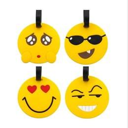 Gel Labels Australia - Creative Emoji Silica Gel Suitcase ID Address Holder Baggage Boarding Tag Portable Label Travel Accessories Luggage Tag Free Shipping