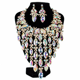 Discount earrings six - Lan palace luxury big crystal bridal jewelry set six colors necklace and earrings for wo'men free shipping