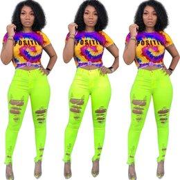 Pop Tees Australia - 2019 Tie-dye Women T shirt Tee Rainbow Color Letters Short Sleeve Crop Top Designer t shirts Camisetas Mujer Tops Hip Pop Streetwear A42507