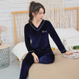 women velvet clothes NZ - Girls Gold Velvet Pajamas Sets for Women 2018 Autumn Winter Long Sleeve Soft Comfortable Pyjama Sleepwear Homewear Home Clothing T200111