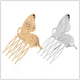 $enCountryForm.capitalKeyWord Australia - Romantic Wedding Bridal Comb Hair Clip Lovely Golden Silver Alloy Butterfly Wedding Hair Accessories Minimalist Butterfly Hair Comb Jewelry